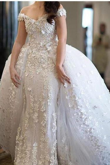 Glamorous Detachable Mermaid Wedding Dresses Off Shoulder Beads 3D Petals Applique Bridal Gowns Enchantment Saudi Arabia Vestido De Novia