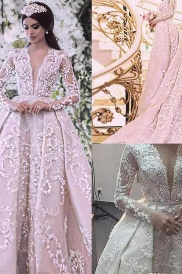 Luxury 3D Floral Appliqued Wedding Dresses With Long Sleeves V Neck Bridal Detachable Train Wedding Gowns