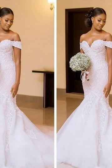 2018 African Black Girls Mermaid Wedding Dresses Bridal Gowns Custom Made Off the Shoulder Beautiful Ladies Vestidos De Mariee