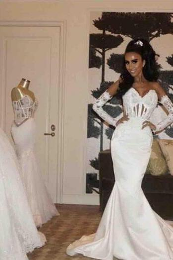 2018 Sexy Mermaid Wedding Dresses Bridal Gowns Long Sleeves Sweep Train Garden Bridal Gown Custom Made