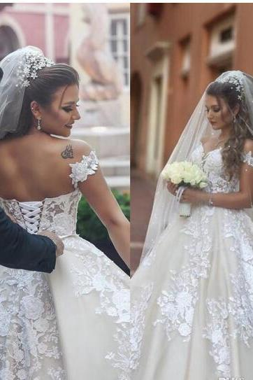 2018 Arabic Saudi Ball Gown Wedding Dresses Bridal Gowns Off The Shoulder Bridal Gowns Lace Up Back Long Formal Retro Wedding Gowns