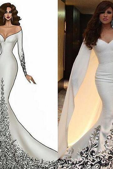 Arabic Style Off Shoulder Evening Dresses Mermaid with Wrap Applique Beaded Long Sleeves 2016 Kaftan Dubai Prom Party Gowns Cheap Dressess
