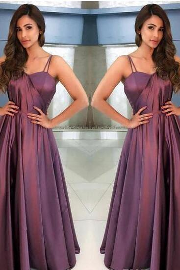 Best Selling Elegant Straps Taffeta Purple Long Prom Dress Evening Dress