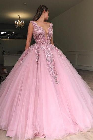Pink Plunging Neckline Sleeveless Prom Ball Gown 2019 Princess Floor Length Tulle Appliques Lace Prom Dresses With Beading Formal Dresss