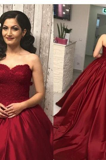 Elegant Burgundy Ball Gown Prom Dresses Sweet Heart Sweep Train Lace Top Long Prom Party Graduation Wear Gowns For Sweet 15