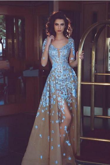 Champange Tulle Mermaid Prom Dress With Overskirt Sky-Blue Lace Appliques Scoop Neck Long Sleeves Evening Gown Sexy Side Split Prom Dress