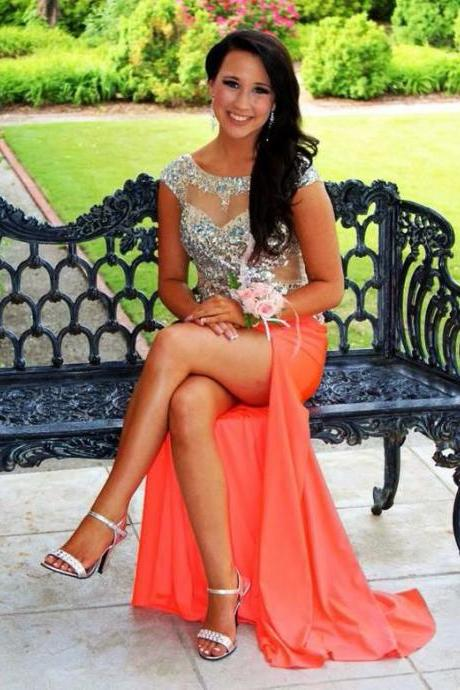 2016 Elegant Orange Chiffon Evening Dresses Sheer Crew Neck Sleeveless Beaded Crystals Formal Prom Party Gowns Vestidos