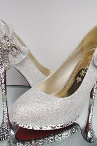 2015 Silver Luxury Bling Women Pumps 10cm High Heels Wedding Shoes Beaded Crystals Pointed Toe High Heel Cinderella