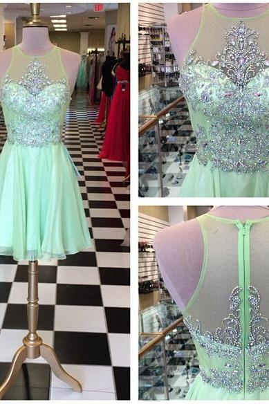 2016 Green A Line Chiffon Prom Dresses Beaded Crystals Homecoming Cocktail Party Gowns Vestidos