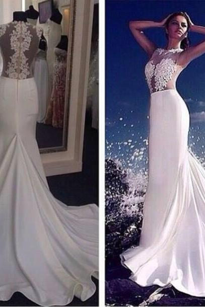 Custom Made Mermaid Evening Dress Crew Neck Sheer Back Court Train Sleeveless Lace Embelished 2016 Sexy Prom Dress