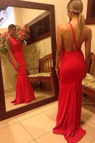 Mermaid Prom Dresses Sexy One Shoulder Sleeveless Backless Sweep Train Chiffon 2016 Red Evening Gowns Party Dresses