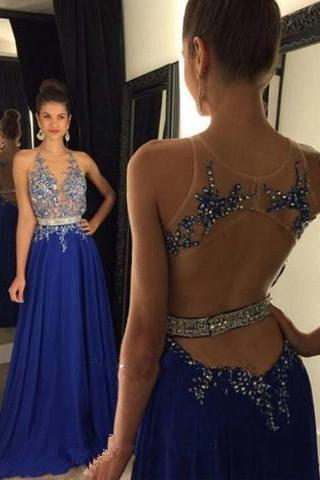 Backless Prom Dresses 2016 New Royal Blue Prom Dress Open Backs Sparkly Chiffon Party Dresses With Rhinestones For Custom Made