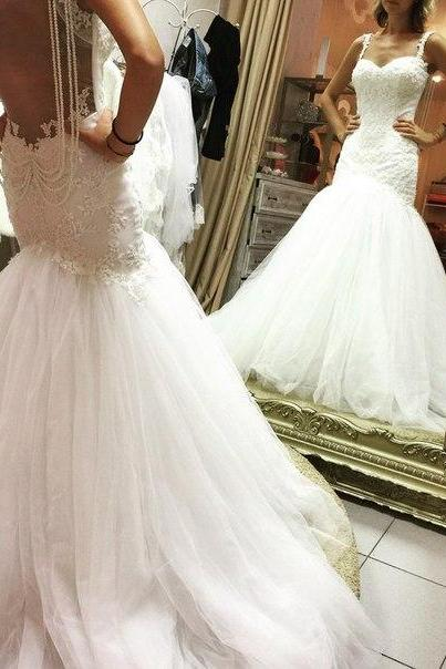 Mermaid 2016 Tulle Wedding Dresses Sweetheart Lace Pearls Bridal Gowns Wedding Gowns