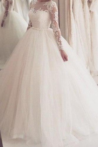 Ball Gown 2016 Tulle Wedding Dresses Crew Neck Sheer Long Sleeve Lace Bridal Gowns Wedding Gowns
