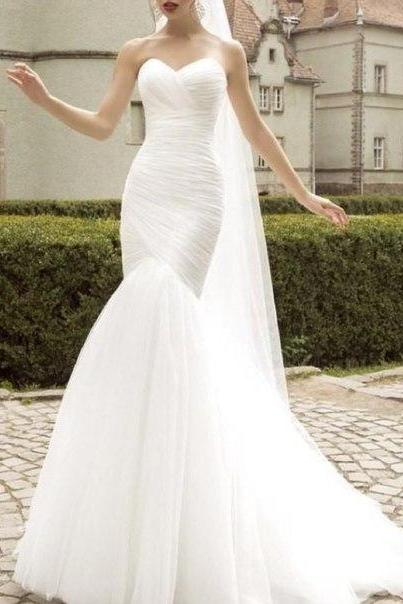 2016 Mermaid Tulle Wedding Dresses Sweetheart Ruched Bridal Gowns Wedding Gowns