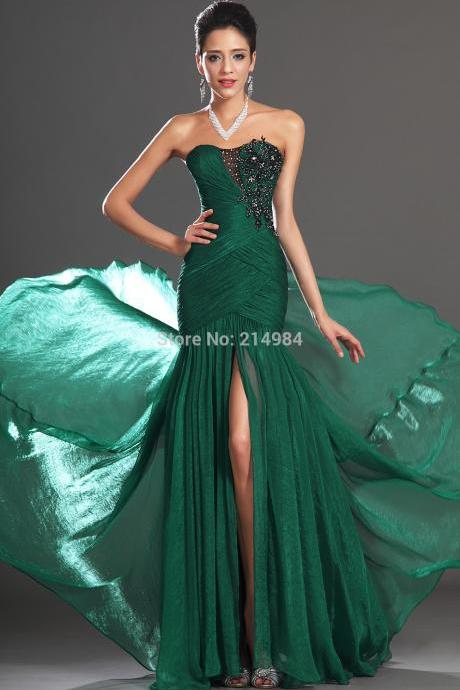 Free Shipping New Sexy Black Appliqued Dark Green Pleated Chiffon Mermaid Evening Dress 2016