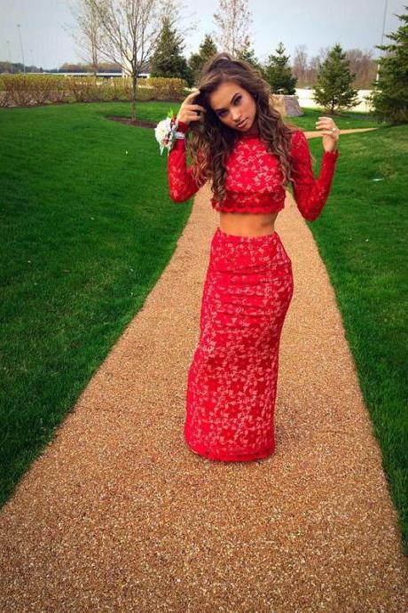 2016 Two Pieces Red Prom Dresses Evening Dress Party Dresses Formal Gowns
