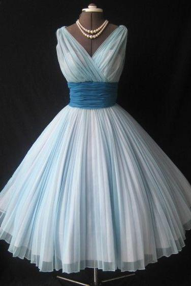 1950S Vintage A Line Blue Prom Dress V Neck Sleevless Mini Short Homecoming Party Dress Gowns