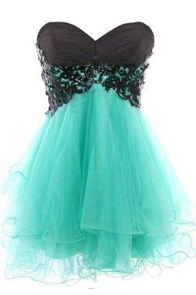 Sweetheart Lace Accents Prom Dress Sleevless Mini Short Homecoming Party Dress Gowns