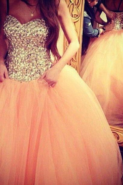 2016 Most Popular Ball Gown Gorgeous Prom Dresses Beaded Luxury Crystals Puffy Tulle Prom Dress Sweetheart Sleeveless Classic Prom Dresses