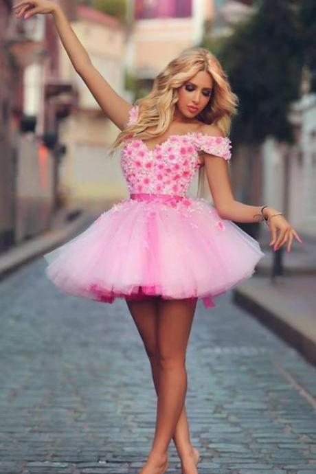Lovely 2016 Off the shoulder short Pink Homecoming Dresses with flowers mini party prom dresses Tulle graduation dress