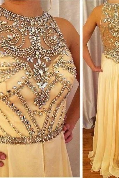 stunning shiny champagne Rhinestone Prom dresses Beaded Chiffon A-Line Evening Dresses Formal Gown Floor length vestidos