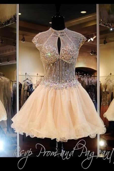 2016 Luxury Crystal Beading High Neck Short homecoming dresses key hole back mini prom dresses cocktail dresses vestidos