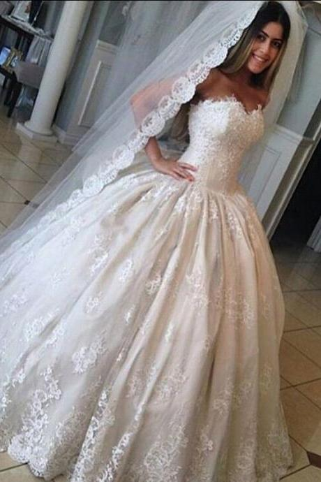2016 Dreaming Ball Gown lace Wedding Dresses Sweetheart Sleeveless Lace-up Vestido De Novia backless bridal gown