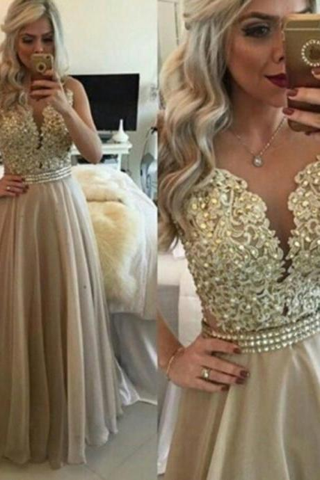 Champagne Lace appliques evening dress beaded crystal A-Line long prom dress vestido de festa custom made