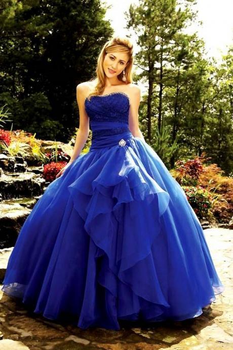 Royal Blue Floor Length Custom Made Lace up Strapless Modern Royal Blue Plus Size Cheap Quinceanera Dresses Ball Gowns 2016