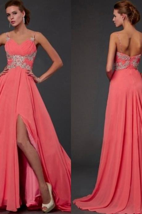 Luxury A Line Elegant Sexy Rhinestone Crystal Chiffon Coral Cheap Long Evening Dresses Gowns Women China for Weddings