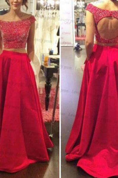 Red Evening Dresses, Two Pieces Prom Dresses, Crystals Party Dress, Long Formal Dress
