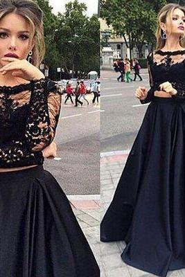 Black Evening Dresses, Lace Prom Dresses, Two Pieces Party Dress, Long Formal Dress