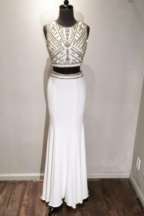 Two Pieces Evening Dresses, Beading Prom Dress, Crystals Party Dress, Long Formal Dresses