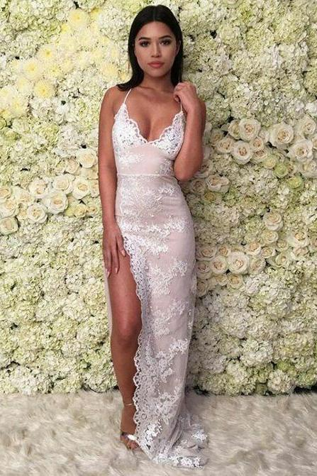 Lace Evening Dresses, Mermaid Prom Dress, Sexy Side Slit Party Dress, Long Formal Dress