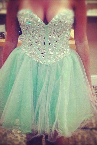 Mint A Line Homecoming Dresses, Beading Crystals Prom Dresses, Mini Short Party Dresses, Sexy Cocktail Dresses