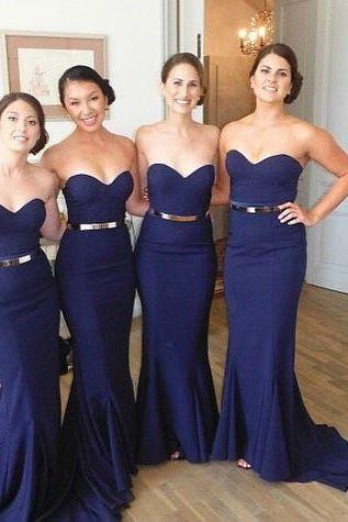 Mermaid Evening Dresses, Navy Blue Prom Dress, Elegant Party Dress, Long Bridesmaid Dresses
