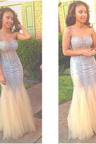 Mermaid Evening Dresses, Beading Crystals Sweetheart Black Girl Prom Dress, Sexy Party Dress, Long Formal Dresses