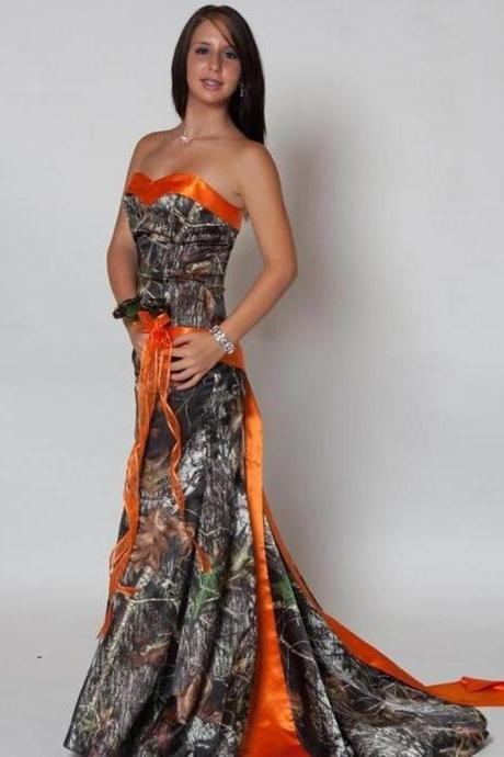 2016 Orange Sweetheart Camo Prom Dresses Camouflage Evening Party Dress Formal Gowns Lace Up