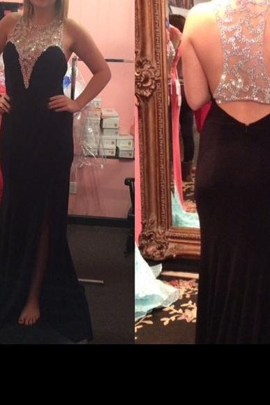 2016 Black Mermaid Prom Dresses Beading Crystals Side Slit Evening Dress Party Dress Long Formal Dresses