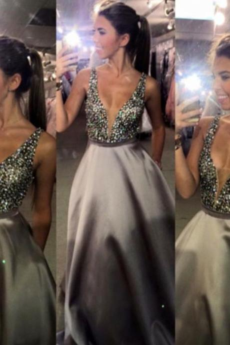 2016 New Designer Crystal A-Line Prom Dress Latest Beading Floor Length Formal Occasion Dresses