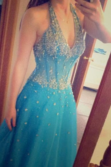 2016 Turquoise Ball Gown Tulle Prom Dresses Halter Beading Crystals Side Slit Evening Dresses Party Formal Gowns Vestidos