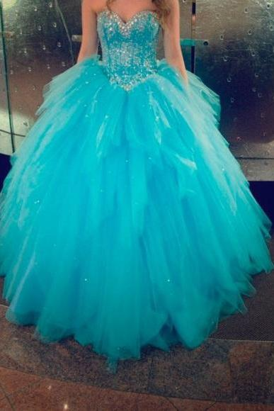 Turquoise Ball Gown Organza Prom Dresses Beading Crystals Evening Dress Party Formal Dress Gowns