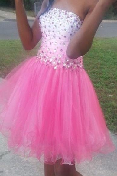 Pink A Line Tulle Prom Dresses Strapless Beading Crystals Mini Short Homecoming Dress Party Cocktail Dress Gowns