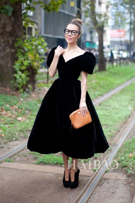 High Quality Cheap Runway Dress Black/Blue Velevt Knee-length Dresses Gown