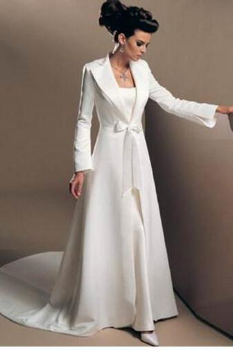 2016 Classic Long Sleeve Floor Length High Quality Custom Made White Satin Winter Wedding Coat Bridal Bolero