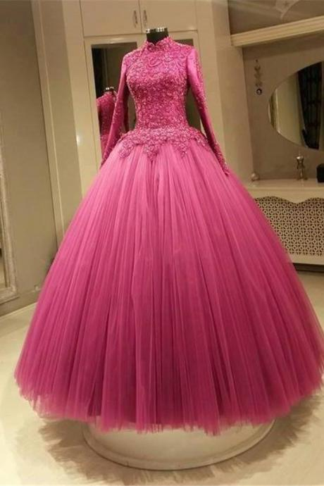 Muslim Fuchsia Color Wedding Dresses A Line High Neck Long Sleeves Applique Lace Plus Size Bridal Gowns Real Picture