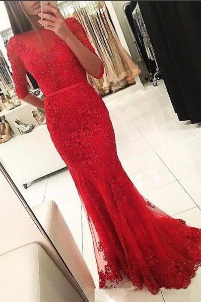 Half Sleeves Evening Dresses 2020 Red Dubai Abaya Mermaid Scoop Appliques Beaded Celebrity Dress Formal Dress Vestido De Festa