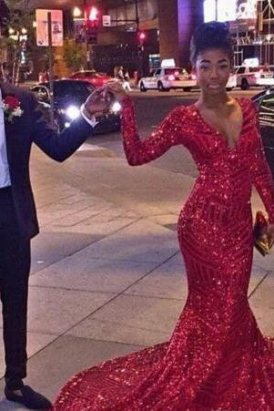 2k16 Red Sexy Bling Red Sequined Mermaid Prom Dresses 2017 African Black Girl Long Sleeves V Neck Special Occasion Prom Gowns Evening Vestid
