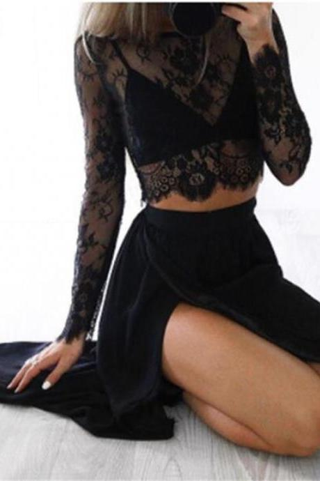 Black Long Sleeves Prom Dress,Sexy Slit Prom Dress,Two-piece Party Dress ,Cheap Prom Dress,A-line Prom Dresses , Prom Dresses,Long Prom Dress,Evening Dress , Party Prom Dress
